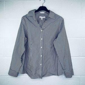 Chico's 2 Button Up Shirt Striped Cotton Blend